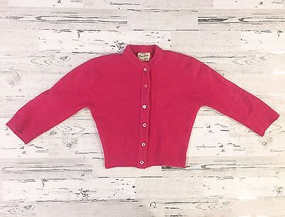 Gorgeous 1950's Girls Toni-Ann Pink Cardigan Sweater Angora Rabbit