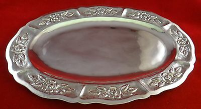 "Vintage Mexican Sterling Silver Hand Chased Oval Tray by Maciel. 11 3/8"" x 7 3/8"