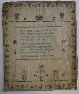 "1794 Needlework Sampler. Finely stitched floral baskets &  boarder. 15 3/8"" x 12"