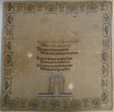 """Fantastic Lg. Needlepoint Sampler. Adapted for youth Hymns, 18th/19thc. 21"""" x 21"""