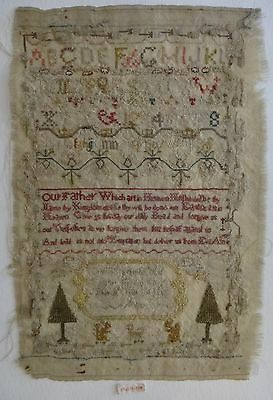 "1793 needlework Sampler, Alpha & numeric w/Lord's Prayer in center, 13 "" x 8"" ."