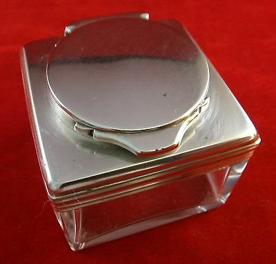English George IV Sterling Silver & Crystal Inkwell. Hallmarked 1833.