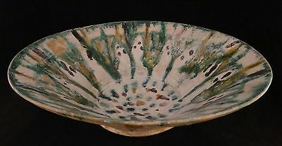 """Large Persian glazed pottery bowl 10th / 11th c. Green/brown glaze. 13 ¼"""" dia."""