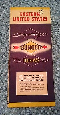 Old Vtg Road Sunoco Road Map Eastern United States US Tour map 1956