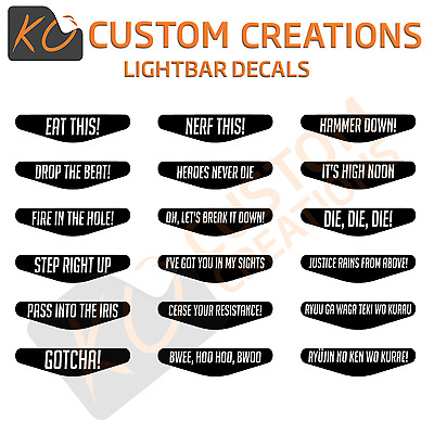 Overwatch Playstation 4 Lightbar Decals quotes Voice lines ps4 stickers