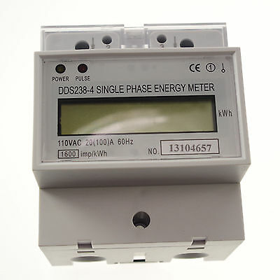 20-100A 110V  60hz Single Phase DIN-rail Type Kilowatt Hour kwh Meter