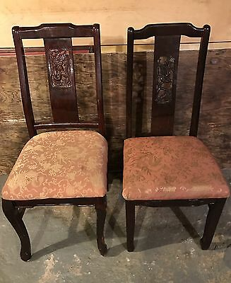 Lot Of 2 Vintage Wood Chairs | Chinoiserie Theme | Gold Pink Jacquard Upholstery