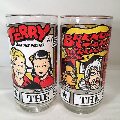 2 Sunday Funnies Drinking Glasses Terry  and the Pirates - Brenda Starr 1976