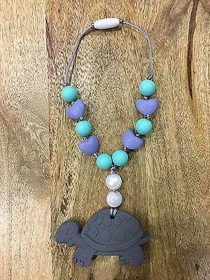 Silicone Teether Turtle With Pearls, Teething Toy, Todler Necklace
