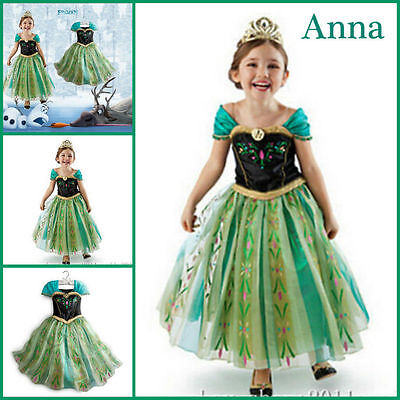 Frozen Princess ANNA Costume Girl's Party Cosplay Robe Déguisement Enfant Fille
