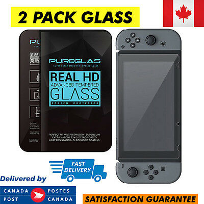 Nintendo Switch PUREGLAS Tempered GLASS Screen Protector Retail Package 2 Pack