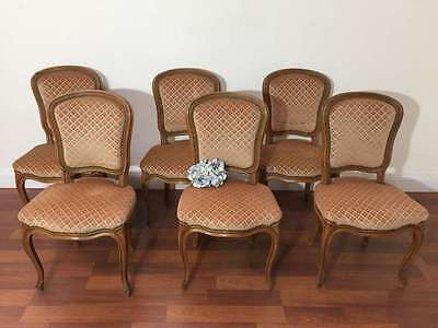 A Set of 6 French Dining Chairs Vintage Louis XV Style Oak  Velvet - L070
