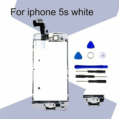 LCD Digitizer Assembly Screen Replacemen and Home Button White For iPhone 5S