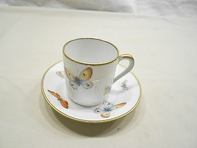 Limoges France Demitasse Cup And Saucer, Butterflies, Gold Trim