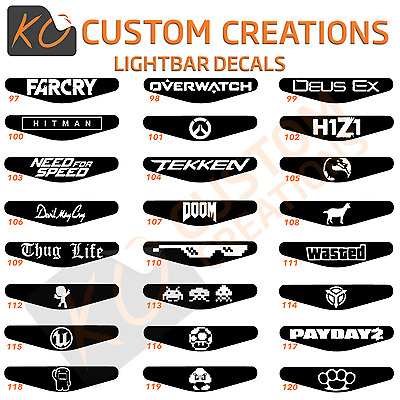 Playstation 4 Lightbar Decals lots of designs ps4 controller stickers