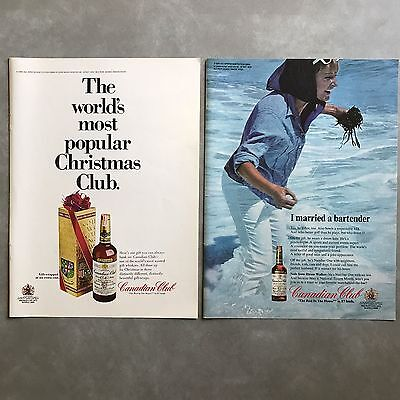 1967 Canadian Club Whisky Beach Vintage Photo Print Ad Lot of 2 Different