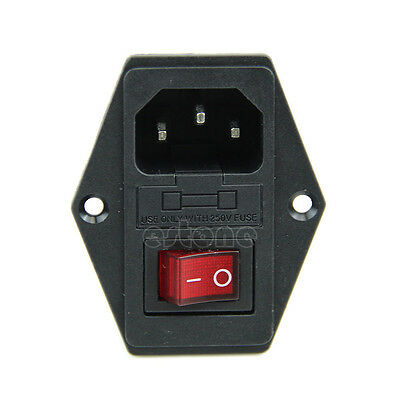 Black Red 250V 10A 3 Terminal Power Socket with Fuse Holder NEW
