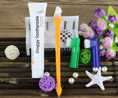 1 Set Pet Dog Cat Toothbrush and Toothpaste Teeth Cleaning Teeth Oral Care CA