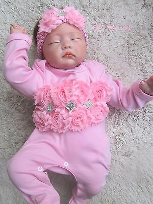 Beautiful-Baby-Girl-Gypsy-Rosette-Flower-Pink-Romper-Babygrow-Headband 3-6months