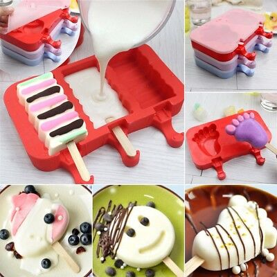 Ice Cream Mould Frozen Pan Ice Pop Mold Tray  W/ 20Pcs Cover Sticks & Silicone