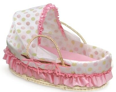 NEW Polka Dot Pattern Fabric Canopy Natural Moses Basket In Pink And Sage