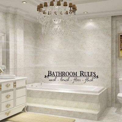 New Bathroom Rules Vinyl Wall Art Decal Toilet Home Sticker Lettering Decor