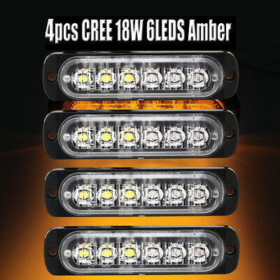 4x 6 LED Car vehicle Strobe Flash Light Emergency Warning Flashing Lamp Amber !