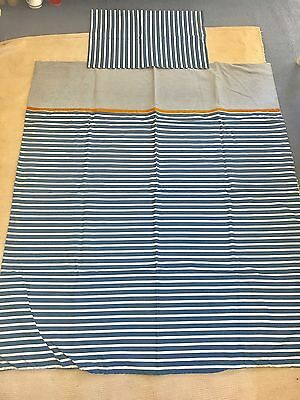 Super Navy Blue And White Striped Quilt/ Duvet Cover And Pillowcase Set