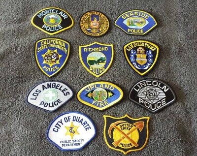 Lot of 11 California Police Patches Various Conditions 008 (07/17)