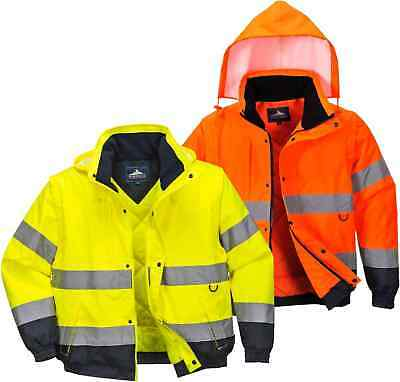 Portwest C468 Mens Hi Vis 2 in 1 Jacket Waterproof PU Coated Rain Work Bomber