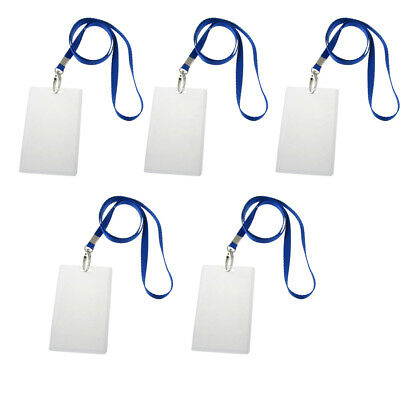 SS (5 Pcs PVC ID Photo Work Card Holders w 5 Straps S*