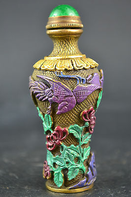 China Collectible Old Copper Phoenix Bird King Flower Decor Noble Snuff Bottle