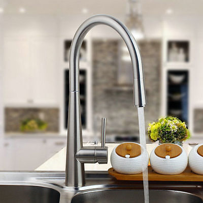 Nickel Brushed Finish Pull Out Swivel Spout Kitchen Sink Mixer Tap Faucet 541