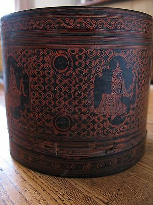 Antique Betel Nut Box Burmese Lacquer