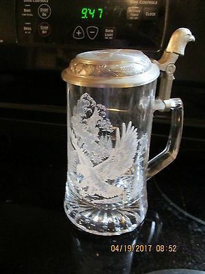 DOMEX  Glass Beer Stein Mug Etched Bald Eagle Aluminum Lid Italy Germany 6""