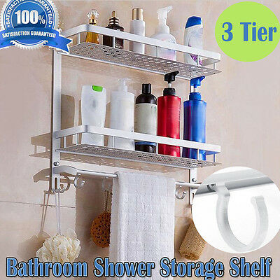 3 Tiers Shower Caddy Bathroom Shelf Organiser Rack Storage Basket Wall Mounted