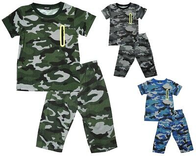 Boys T-Shirt Shorts Outfit Army Camouflage Pixel Neon Zip Kids Set 3 to 12 Years