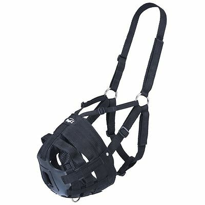Tough 1 Easy Breathe V Grazing Muzzle Adjustable Webbing Halter Black Horse Size
