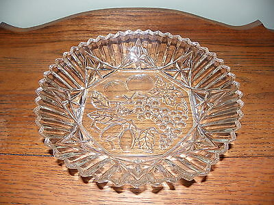 Vintage Depression / Federal /  Pioneer Crystal Serving Bowl / Saw Tooth Edging