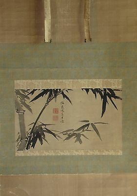 Antique Chinese Hanging Scroll BAMBOO Hand-Painted on Silk