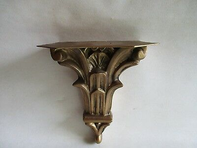 Vintage Large Solid Brass Wall Bracket - Hanging Shelf Gothic - Clock Figurine 3