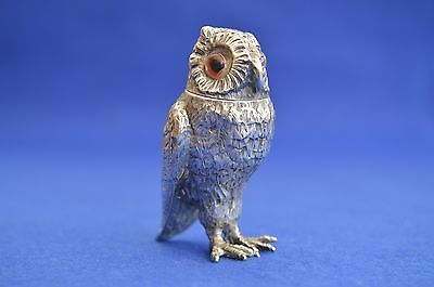 French Solid Silver Owl Salt Shaker - Pepper - Cruet - Hallmarked Minerve -