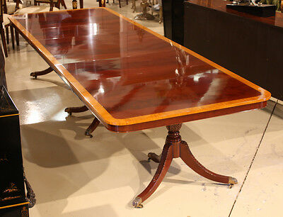 High end 12' mahogany traditional 3 pedestal formal dining table seats 12 people