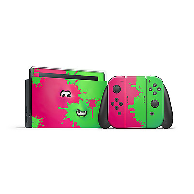 Nintendo Switch Splatoon theme Skins pink and green Joycon dock
