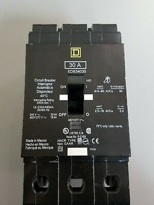 Square D Edb34030 30 Amp 480Y/277V Bolt On 3 Pole Edb Circuit Breaker  New Type