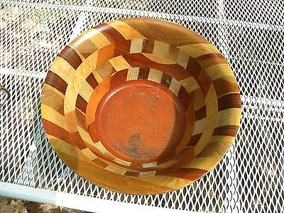DON ROGERS (American), 1989 LARGE MARQUETRY BOWL FOLK ART