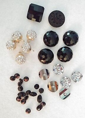 ANTIQUE  BLACK & SILVER GLASS BUTTONS, Rhinestones, Faceted mirror round square
