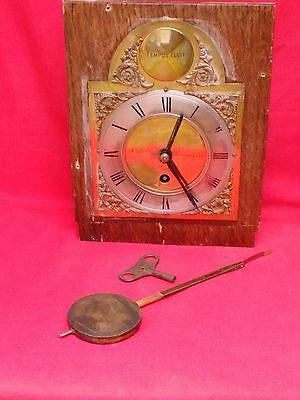 Antique / Vintage Fusee Clock Movement, Brass Dial, Pendulum & Key. Running