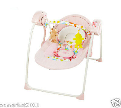 Security Pink Comfortable Baby Swing Chair/Electric Rocking Chair+Bed Nets+Mat