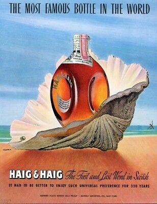 1947 Haig & Haig Scotch Shell Ocean Pearl Beach Ad7095